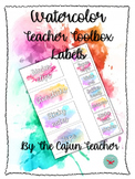 Customizable Watercolor Teacher Toolbox Labels