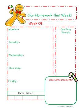Customizable Weekly Homework Sheets- 40 in all!