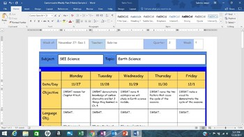 Customizable Weekly Lesson Plan (Fillable)
