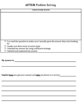 Multi-Step Word Problem Template- Before, During, & After Organizer & Checklist