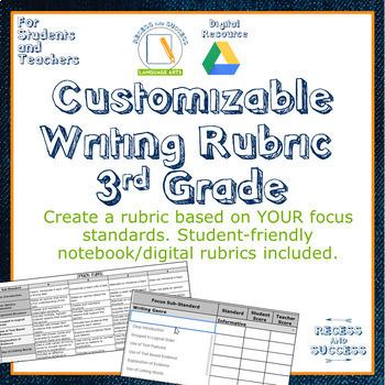 Customizable Writing Rubric 3rd Grade