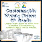 Customizable Writing Rubric: 6th Grade