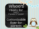 Customizable welcome back owl pamphlet for parents at open house