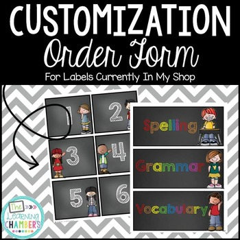 Customization Order Form: ONLY for Labels in my Store