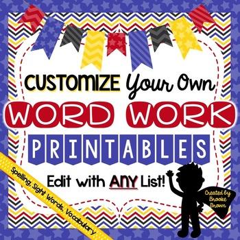 Editable Word Work