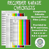 Customizeable Recorder Karate Progress Checklists Color & B/W