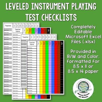 Customizeable Recorder Karate Progress Checklists Color & B/W