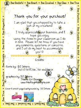 Customized Bee Bucks Incentive Dollars First Grade