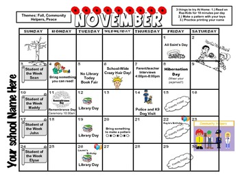 November Calendar Customized
