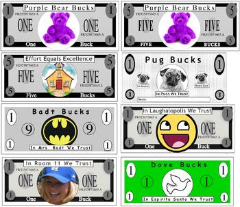 Customized Classroom Bucks for incentives