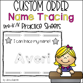 Customized Name Tracing Practice (Black and White)