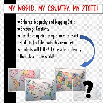 "State Map Activity- CUSTOMIZED for you!  ""My World, My Country, My State!"""