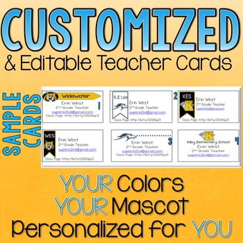 Customized Teacher Business Cards for Open House School Colors and Mascots