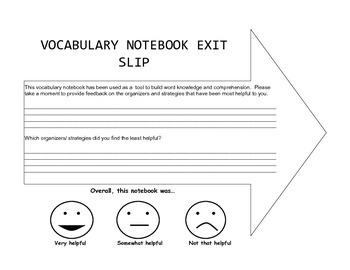 Customized Vocabulary Notebook (Word Study)
