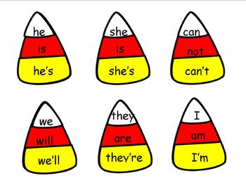 Cut Apart Candy Corn Contractions