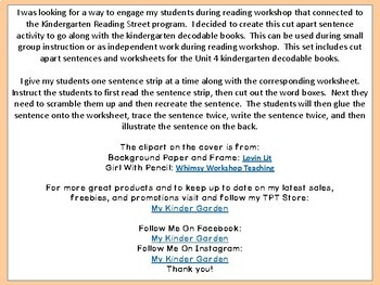 Cut Apart Sentences Kindergarten Reading Street Decodables Unit 4