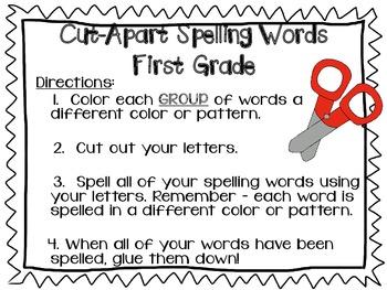 Cut Apart Spelling - Unit 1