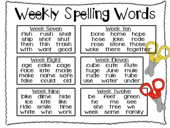 Cut Apart Spelling - Unit 2