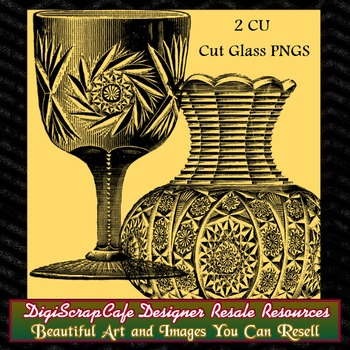 Cut Glass Chalice Vase Vintage Gothic Clip Art Transparent pngs Commercial Use