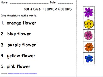 Cut & Glue Flower Color FREEBIES