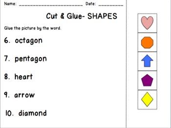 Cut & Glue Shapes FREEBIE