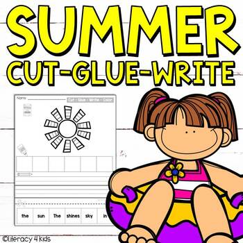 Cut, Glue, and Write No Prep Printables for First Graders (Summer Themed)