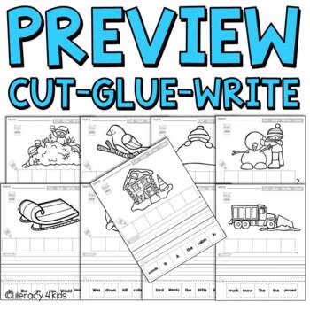 Cut, Glue, and Write No Prep Printables for First Graders (Winter Themed)