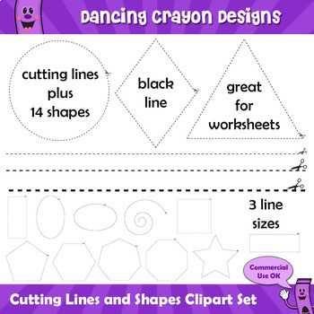 Cut Here - Cutting Lines and Scissor Shapes Clip Art Set