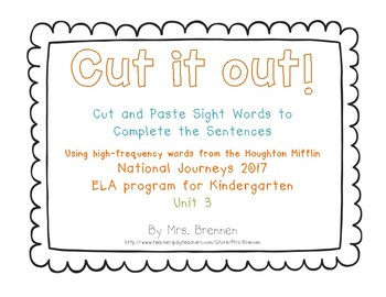 Cut It Out! Literacy Center for HMH National Journeys 2017 Kindergarten, Unit 3