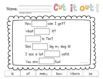 Cut It Out! Literacy Center for HMH National Journeys 2017 Kindergarten, Unit 4