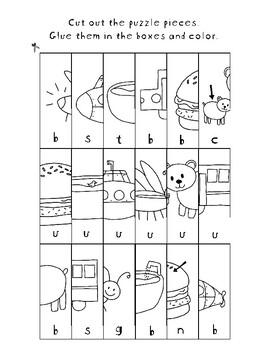 Cut It Out! Short U CVC Puzzles