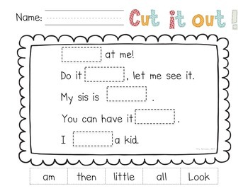 Cut It Out!  Sight Word Practice Pages