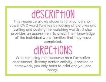 Cut, Match & Check - CVC Words - Short E