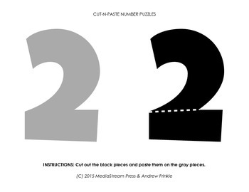 Cut-N-Paste Number Puzzles - Practice motor skills and counting 1-10