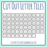 Cut Out Letter Tiles LineArt for Games or Activities Clip Art Set Commercial Use