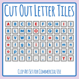 Cut Out Letter Tiles in Color for Games or Activities Clip Art Set Commercial