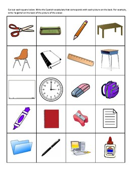 Cut Out School (La Escuela) Bingo