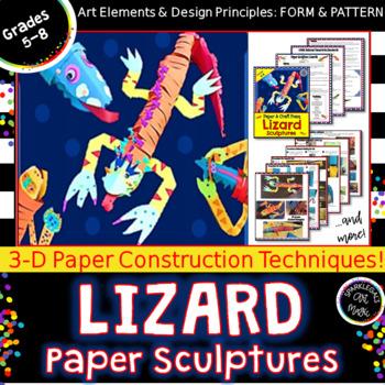 Cut Paper & Craft Foam Lizard Sculptures
