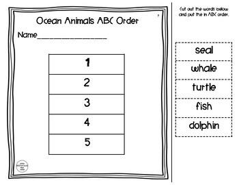Cut & Paste ABC Order - Ocean Animals - FREEBIE