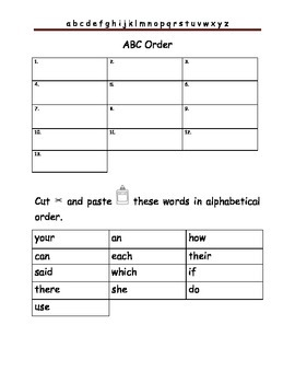 Cut & Paste ABC Order with Fry words