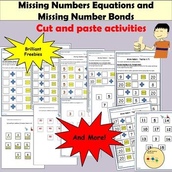 Cut/Paste Activities-Addition, Number Bonds/Equations Activities & Teacher Notes