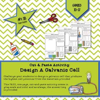 Cut & Paste Activity:  Design a Galvanic Cell