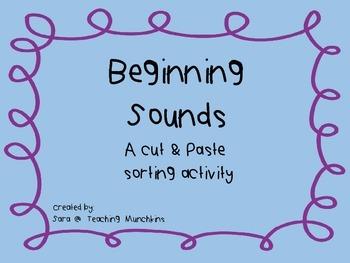 Cut & Paste Beginning Sounds Activity