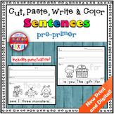 Sight Word Sentence Cut & Paste Worksheets: Pre-Primer