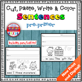 Sight Word Sentence Cut and Paste Worksheets Pre-Primer