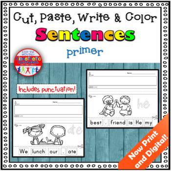 Sight Word Sentence Cut & Paste Worksheets - Primer