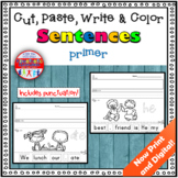 Sight Word Sentence Cut and Paste Worksheets Primer