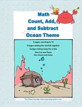 Cut, Paste, Count, Add, and Subtract Printable Worksheets-Ocean Theme