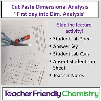 Chemistry Activity: Introduction to Dimensional Analysis Cut-Paste Activity