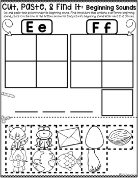 Beginning Sounds Cut and Paste Sort